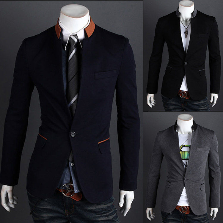 High Quality Mens Fashion Contrast Color Stand Up Collar