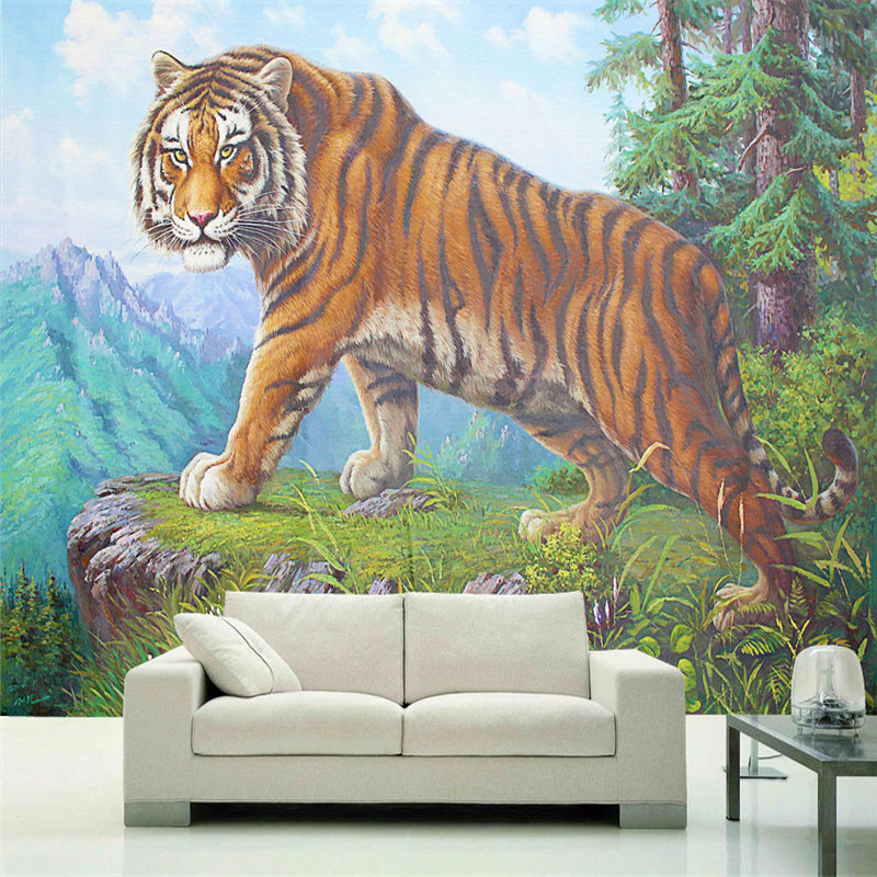 Custom HD Wallpapers Nature Landscape Murals 3D Tiger Animal Large for Bedroom TV Living Room Background Wall Papers Home Decor custom photo size wallpapers 3d murals for living room tv home decor walls papers nature landscape painting non woven wallpapers