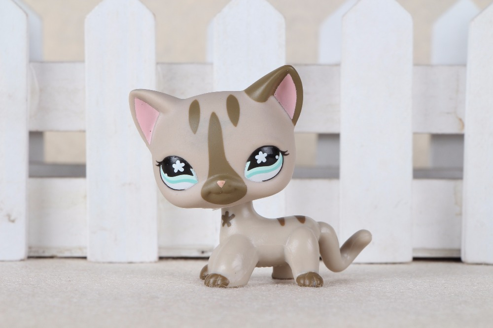 New pet Genuine Original LPS #468 Grey Short hair Cat Kitty Flower Eyes Eyes Toys