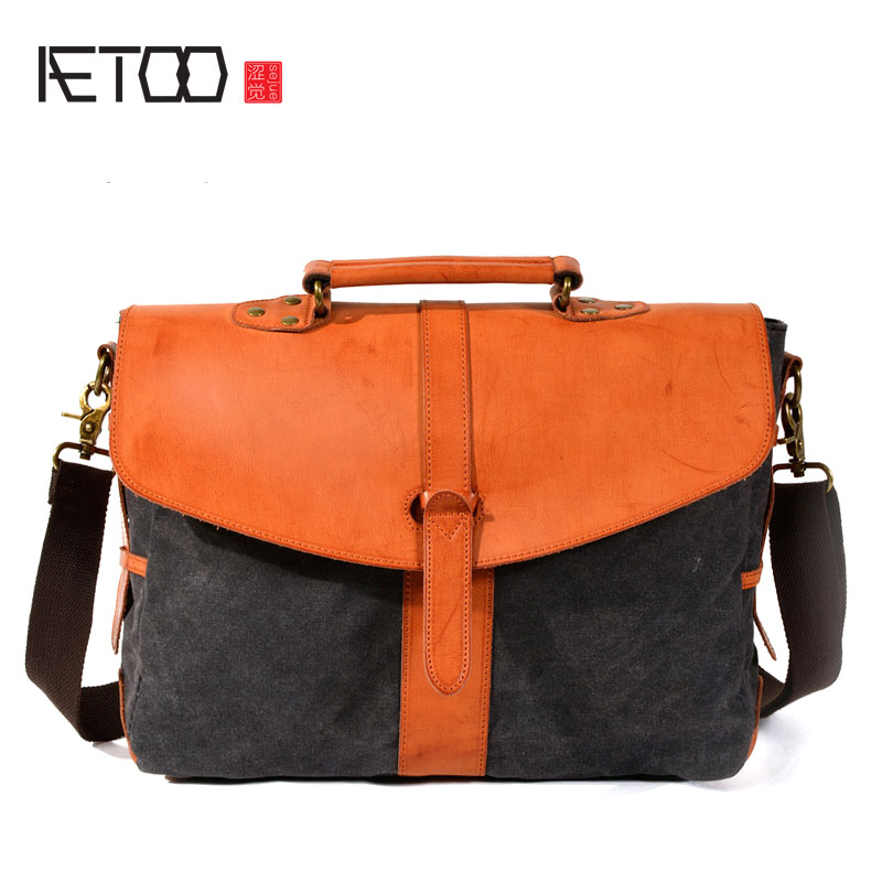AETOO Retro Messenger Bag Waterproof Wax Canvas Casual Shoulder Bag Laptop Bag with Rubbed Leather Briefcase retro oil wax waterproof canvas cross body messenger bags men quality large european style shoulder bag retro business briefcase