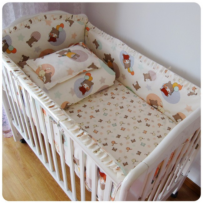 Promotion! 6/7PCS Baby boy crib set Cot set bedding Baby Bedding for babies in a crib  120*60/120*70cm