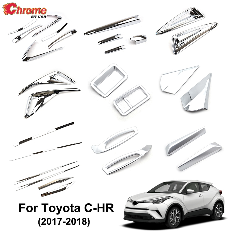 Toyota C-HR 2017-2018 Front center grill+Rear back lower trim garnish cover-RED