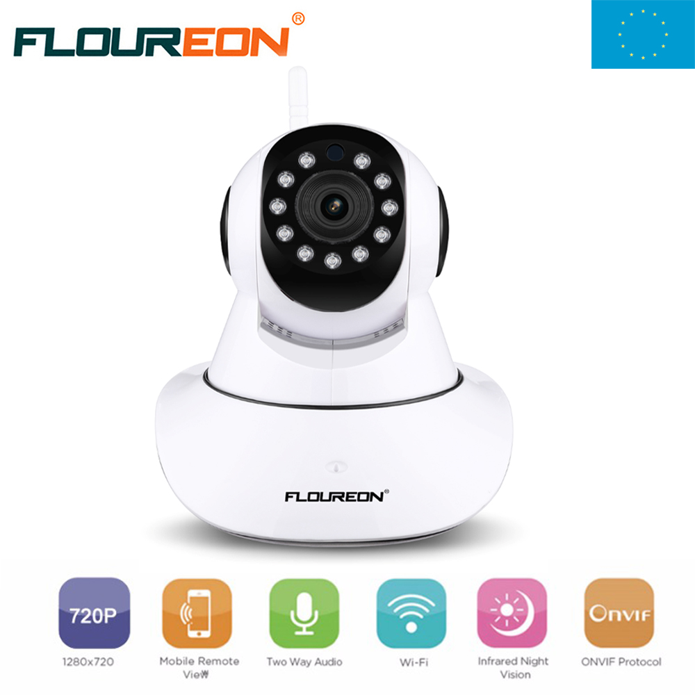 Local Shipping ! Floureon IP Camera WIFI Onvif P2P Phone Remote 720P Home Security Baby Monitor Wireless Video Surveillance Cam wifi ipc 720p 1280 720p household camera onvif with allbrand camera free shipping