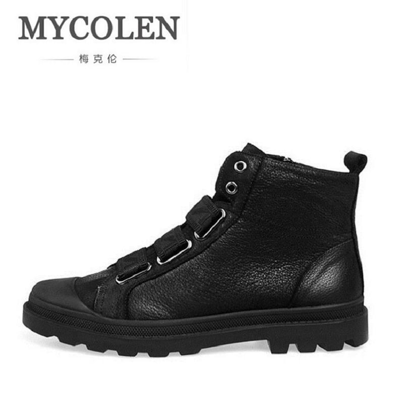 все цены на MYCOLEN Brand New Men Winter Boots Snow Men Work Ankle Boots British Style Fashion Black Zip Men Shoes Sapato Masculino онлайн