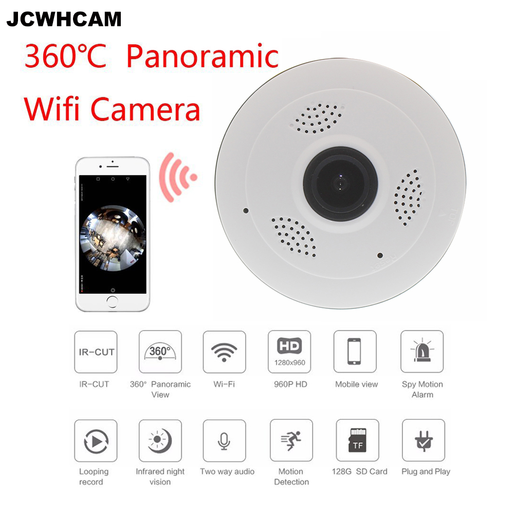 JCWHCAM 360 Degrés Panoramique Caméra IP 960 P 1.3MP IP de Sécurité À Domicile caméra Wifi Deux Voies Audio WebCam SD Fente Pour Carte Numérique PTZ