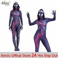Ainclu 24 Hrs Shipping Out Womens Girls Gwenom Cosplay Costume Symbiote Venom Spider Gwen Stacy Spiderman Superhero Bodysuits