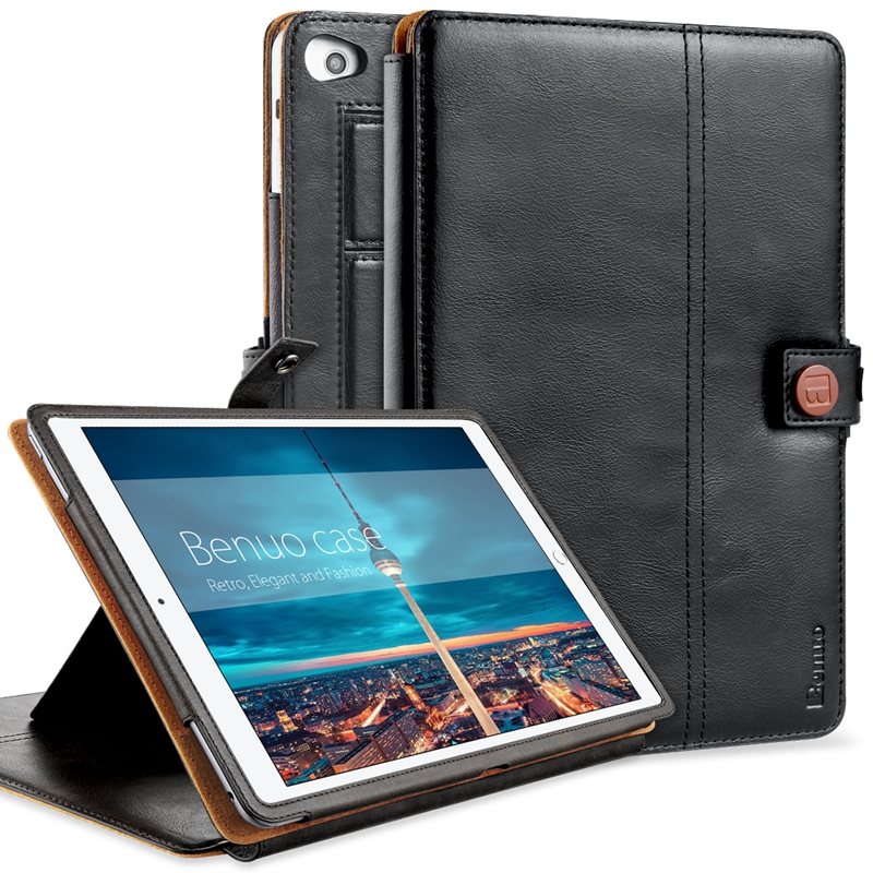 ФОТО Benuo For Apple iPad Mini 4 Case Genuine Leather Smart Cover Card Slots Flip Case Hand Strap With Stand Wake / Wake Function New