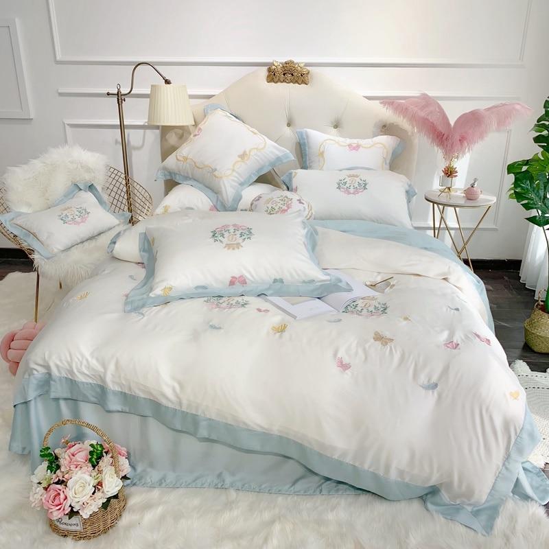 Sweet Butterflies Embroidery Ultra Soft Tencel Silk Girls Bed Set Queen King size Bed sheet Duvet