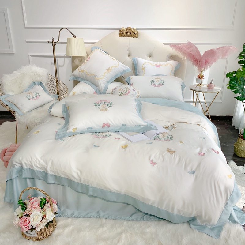 Sweet Butterflies Embroidery Ultra Soft Tencel Silk Girls Bed Set Queen King Size Bed Sheet Duvet Cover Pillow Shams 4/7pieces