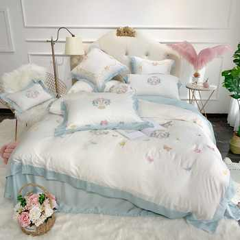 Sweet Butterflies Embroidery Ultra Soft Tencel Silk Girls Bed Set Queen King size Bed sheet Duvet cover Pillow shams 4/7pieces - DISCOUNT ITEM  38 OFF Home & Garden