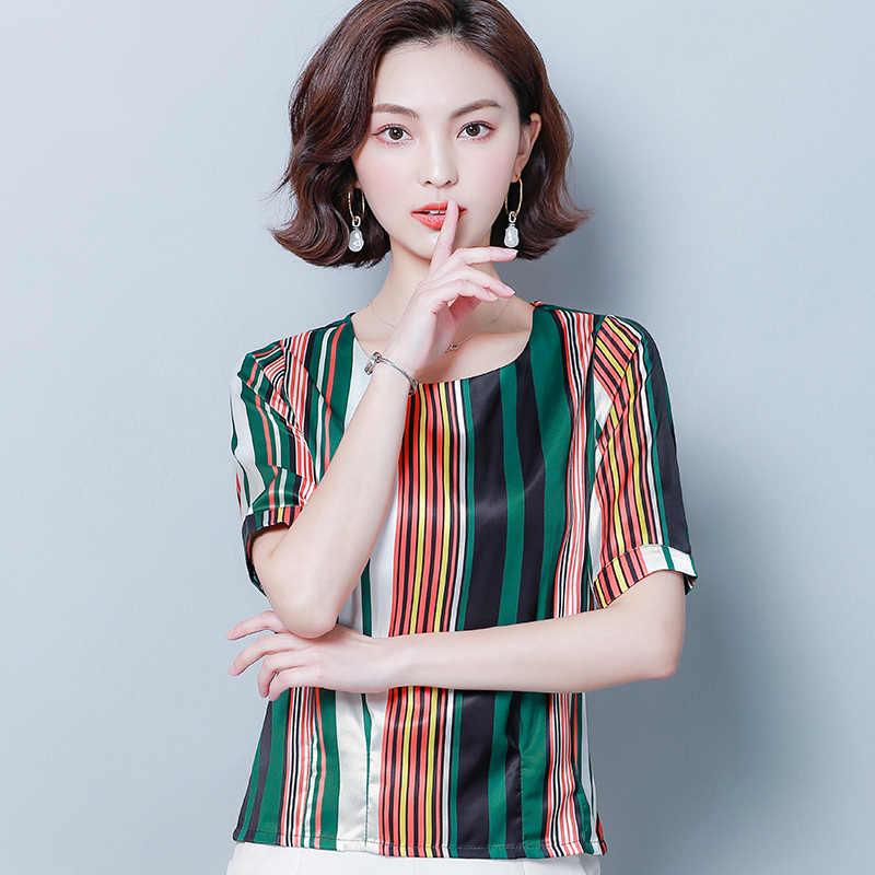 Летние женские блузки с коротким рукавом женская одежда плюс размер полосатая шифоновая женская блузка женские рубашки-топы и блузки 3561 50