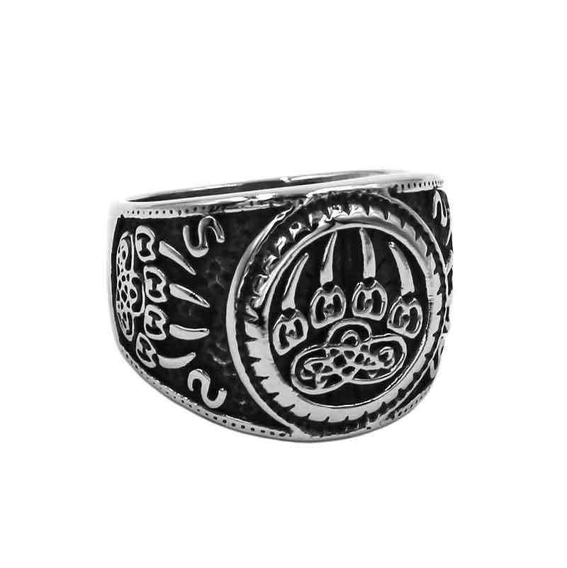Wholesale Vikings Norse Amulet Bear Paw Ring Stainless Steel Jewelry Celtic Knot Charms Claws Motor Biker Mens Ring SWR0889