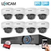 LOXCAM h.265 + 8CH CCTV システム POE NVR キット 8 × 960 1080P 1.3MP セキュリティ IP66 で/屋外バンダル IP カメラビデオ監視カメラ