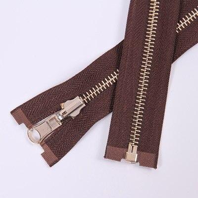 Alipress 5#90 см длинный открытый конец молния светильник золотые зубы металлические молнии для DIY шитья пуховик Куртка - Цвет: coffee