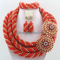 Splendid Statement Necklace African Beads Jewelry Sets Nigerian Wedding Crystal beads Jewelry Set Womens Jewellery Set W12536