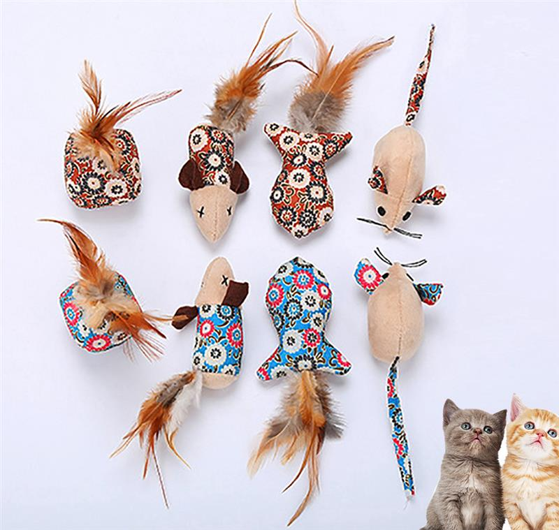 New Mouse Fish Ball Feather Toys For Cat Funny Cat Teaser Scratcher Interactive Toy Kitten Play Toys Pet Products 4pcs/set