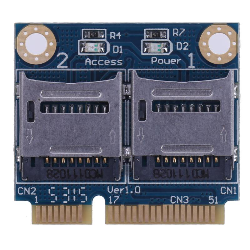 Mini PCI-E Express Memory Card Reader Adapter PCI-E to Dual TF SDHC SDXC Reader Converter PCI-E to TF Card Adapter