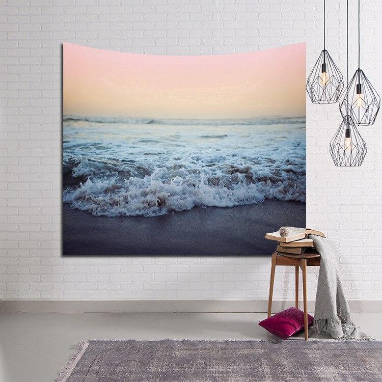 3D Sea Beach Nature Scenery Printed Modern Wall Hanging Tapestry Fashion Bohemian Bedspread Throw Blanket Beach Towel Picnic Mat