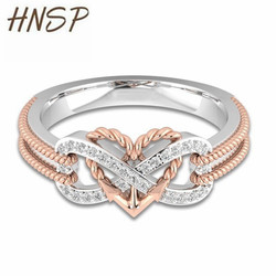 HNSP Friendship Infinite Heart Rose Gold Ring For Women Female Engagement Finger Jewelry Gift