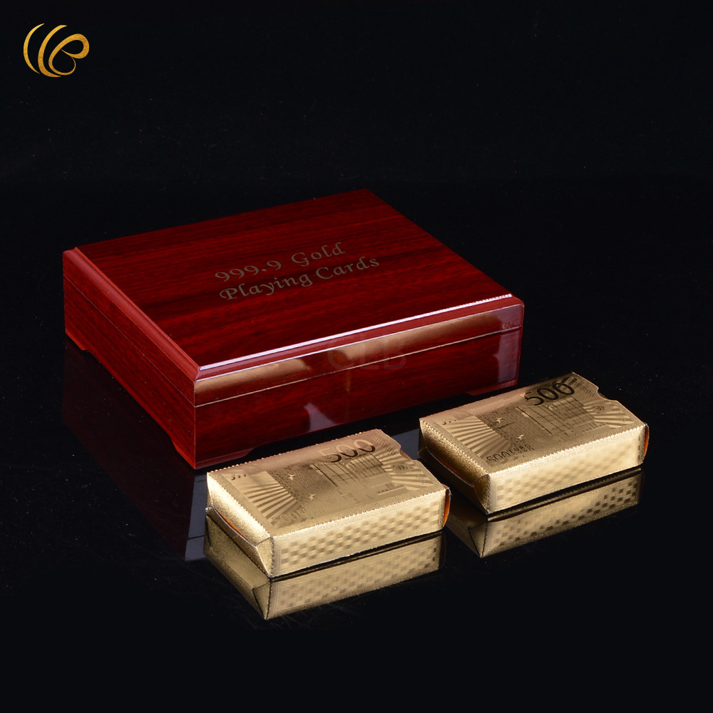 Wholesale 500 Euro Design Gold Plated Double Decks of Playing Cards In Red Wooden Box for Gifts