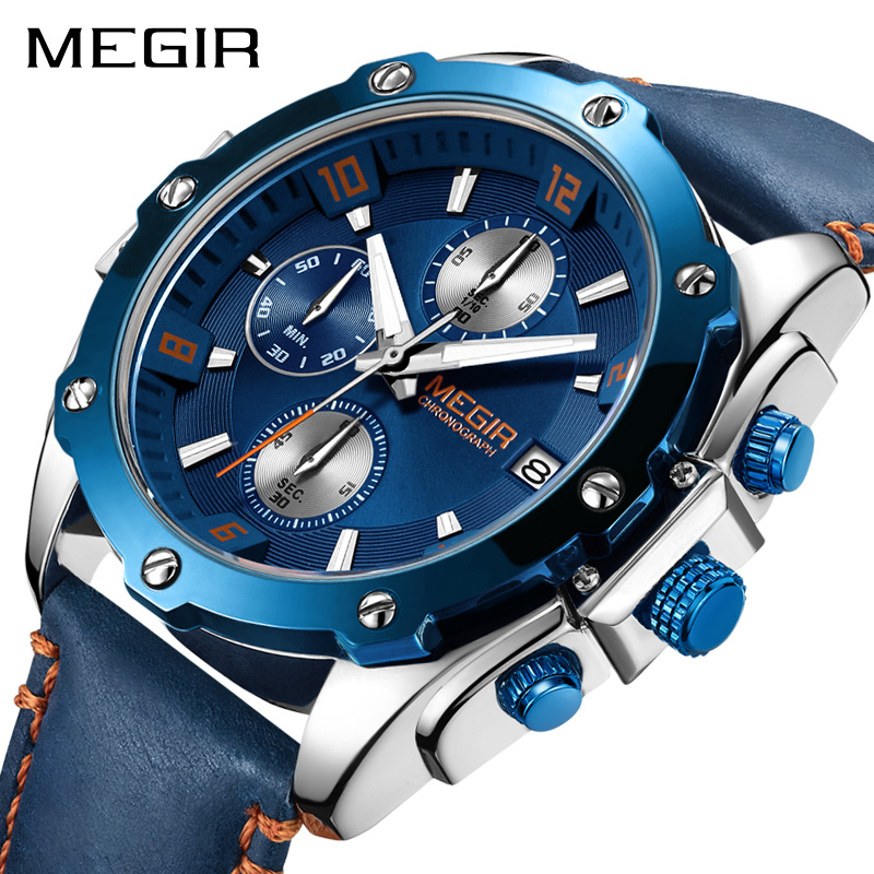 MEGIR Chronograph Quartz Watch Men's Blue Leather Business Casual Wrist Watch Clock Men Creative Army Military mike 8831 men s business casual quartz watch silver blue