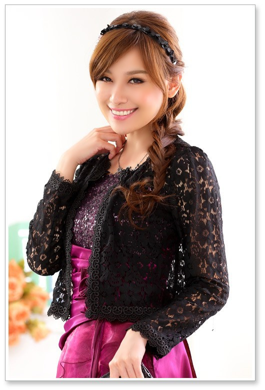 Elegant Women Lace Bridal Jacket Long Sleeve Wedding Patry Wraps Lace Bolero Bridal Jackets