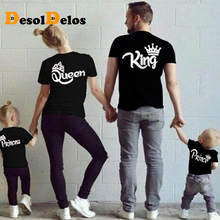 Family Matching Outfits KING QUEEN PRINCE PRINCESS Print Family Funny Looking Tshirt O-neck Short Sleeve Cotton Couple Tee Top letter print matching couple tee