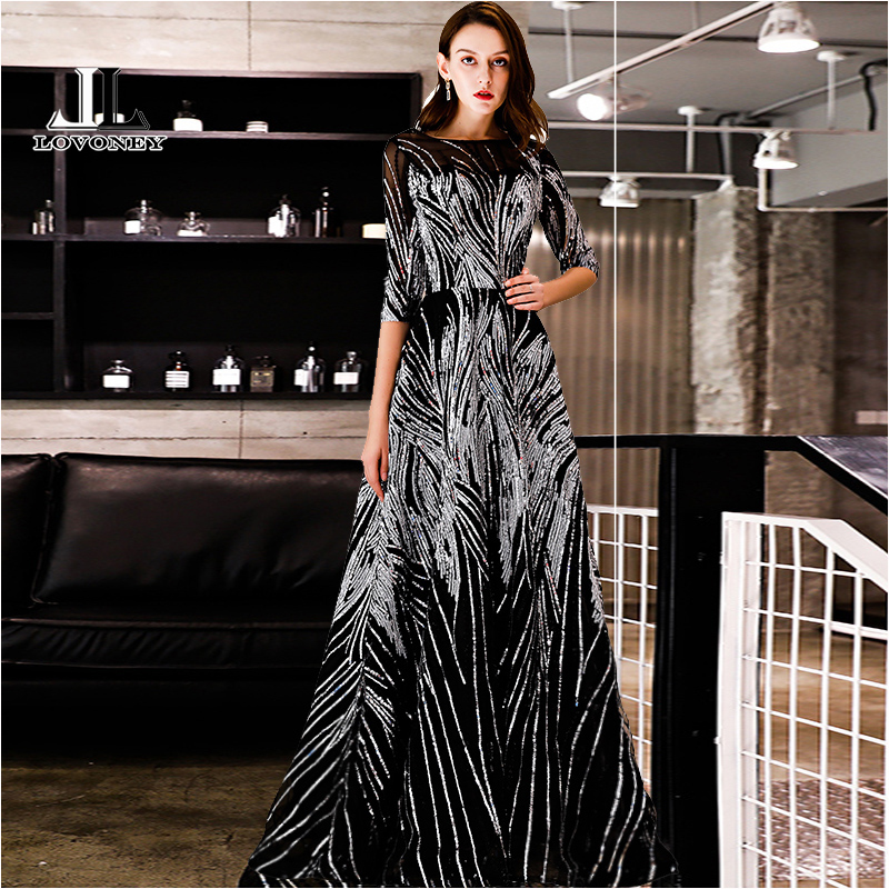 LOVONEY Evening Dress with Sequins A Line Half Sleeves Formal Dress Evening Party Gown Occasion Dresses