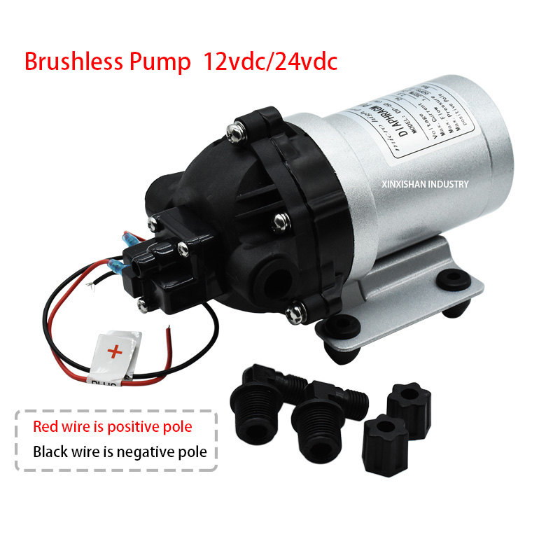 Pompe à eau haute pression sans brosse DP-60 (BLDC) 12/24 V DC 5L/min (1.3GPM) pompe à membrane auto-amorçante auto-pressostat