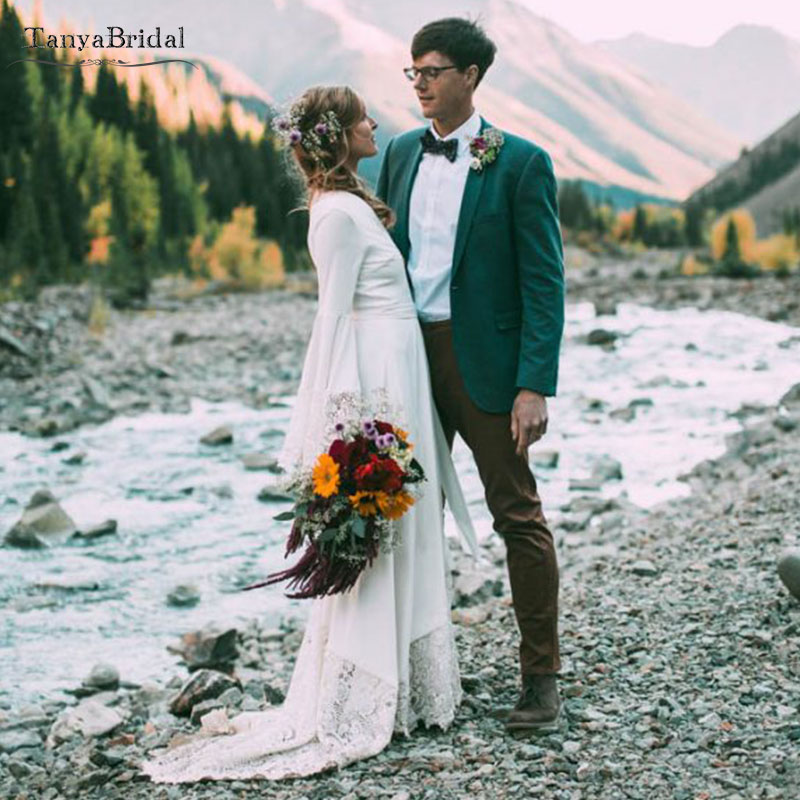 Интимные юго запад Свадебные платья Flare с длинным рукавом Boho пляжные свадебные платья мода Vestido de noivas шикарное платье DW050