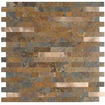 Vividtiles Peel & Stick Stone Tile Backsplash - Metal Wood Square Design 5Sheet