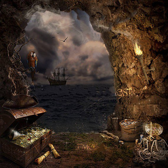 Pirate ship cave treasure backdrops polyester or vinyl cloth high quality computer print party - Pirate background ...