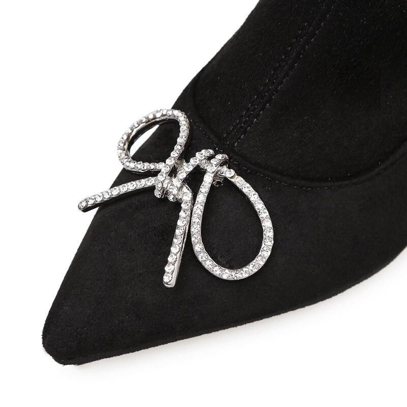 Knie Stiefel Über Frauen Bowknot Herbst Wildleder Bootsblack Schuhe Kleid Mit Schwarzes Das Leder Versand Mode Newarrive Kristall Für Kostenloser nZEIXqZ