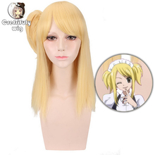 Fairy Tail Lucy Heartfilia 45cm Long Straight Golden Costume Cosplay Wig for Women Anime Synthetic Hair High Quality