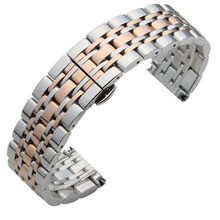 цена на Metal Stainless Steel Watch Band Wrist Strap 16mm 18mm 20mm 22mm Replacement Butterfly Clasp Bracelet Men Women Black Rose Gold