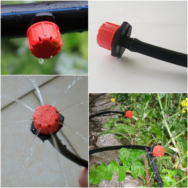100Pcs 1/4Inch Adjustable Micro Drip Irrigation System Watering Sprinklers Anti-clogging Emitter Dripper Red Garden Supplies