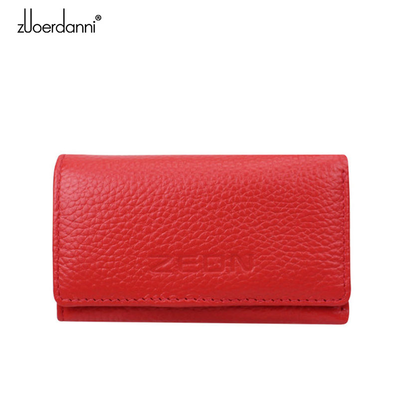 Promotion Women Key Holder Car Styling Bag 100% Genuine Leather Wallet Cover six Hook Zipper Card Case A06-in Key Wallets from Luggage & Bags on AliExpress