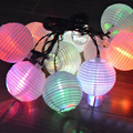 10 LED Solar Chinese Hanging Lantern String Outdoor Garden Yard Lamp Festival Tree Decoration Light FULI