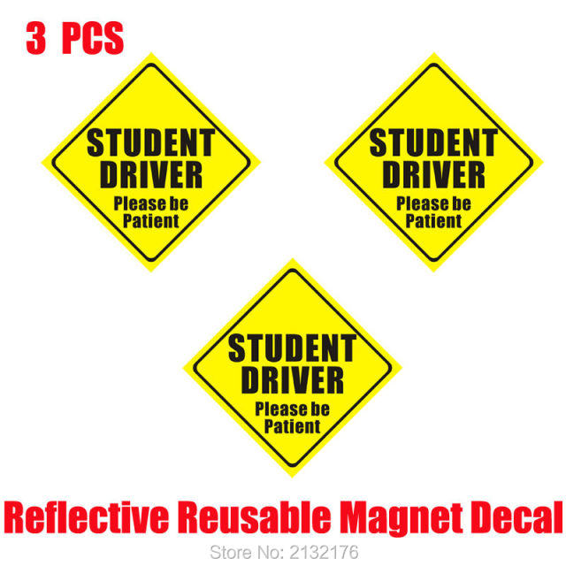 Student driver please be patient reflective magnet decal funny bumper stickers magnetic vehicle car sign