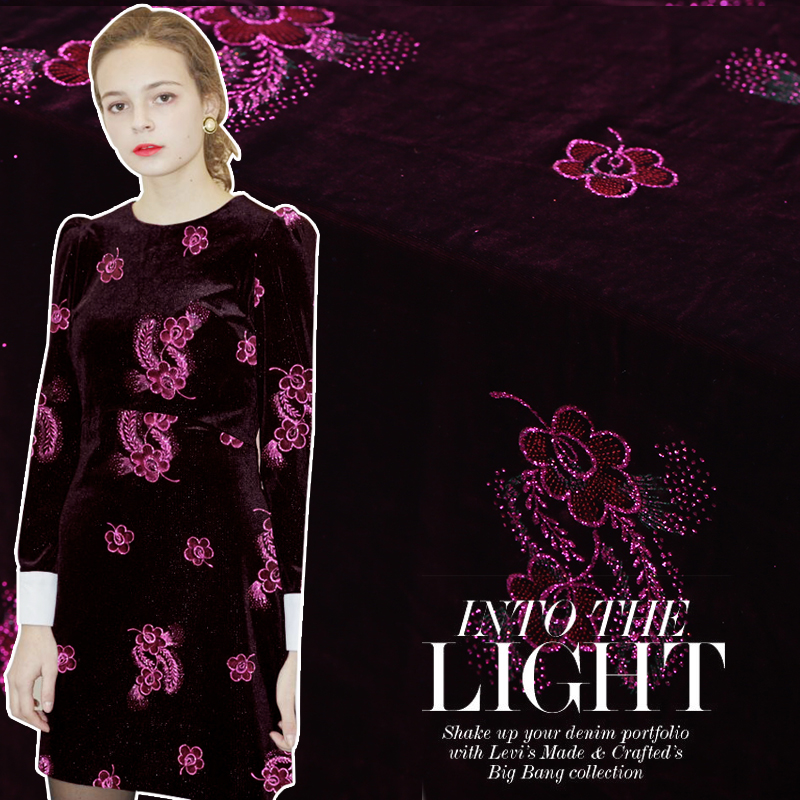 114cm Wide High-grade Gilded Silk Velvet Fabric Silk Silk Velvet Dress Cheongsam Skirt Fabric 200g/m