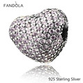 Beads Fits Pandora Bracelets 100% 925 Sterling Silver Jewelry Pave Open My Heart, Pink CZ Original Fashion DIY Charms