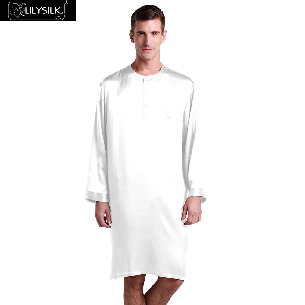 LilySilk Robe Nightshirt Sleepwear Men Bathrobe Kimono Silk 100 Pure 22 momme Long Sleeve Luxury Natural