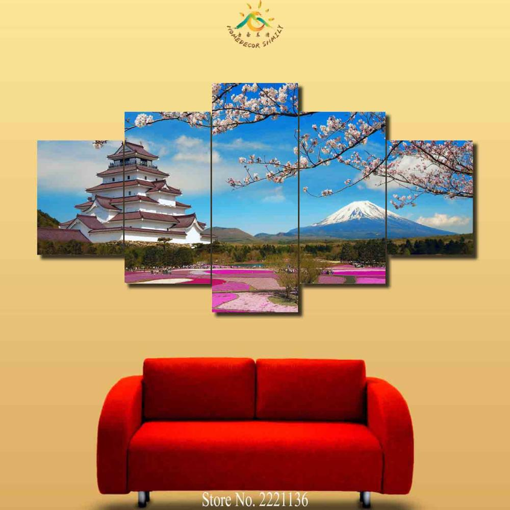 3 4 5 Pieces Mount Fuji Plum Blossom Modern Wall Art Canvas Printed ...
