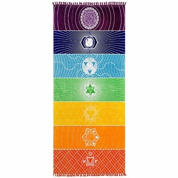 Best Quality Made Of Polyester Cotton Bohemia India Mandala Blanket 7 Chakra Rainbow Stripes Tapestry Beach Throw Towel Yoga Mat 1