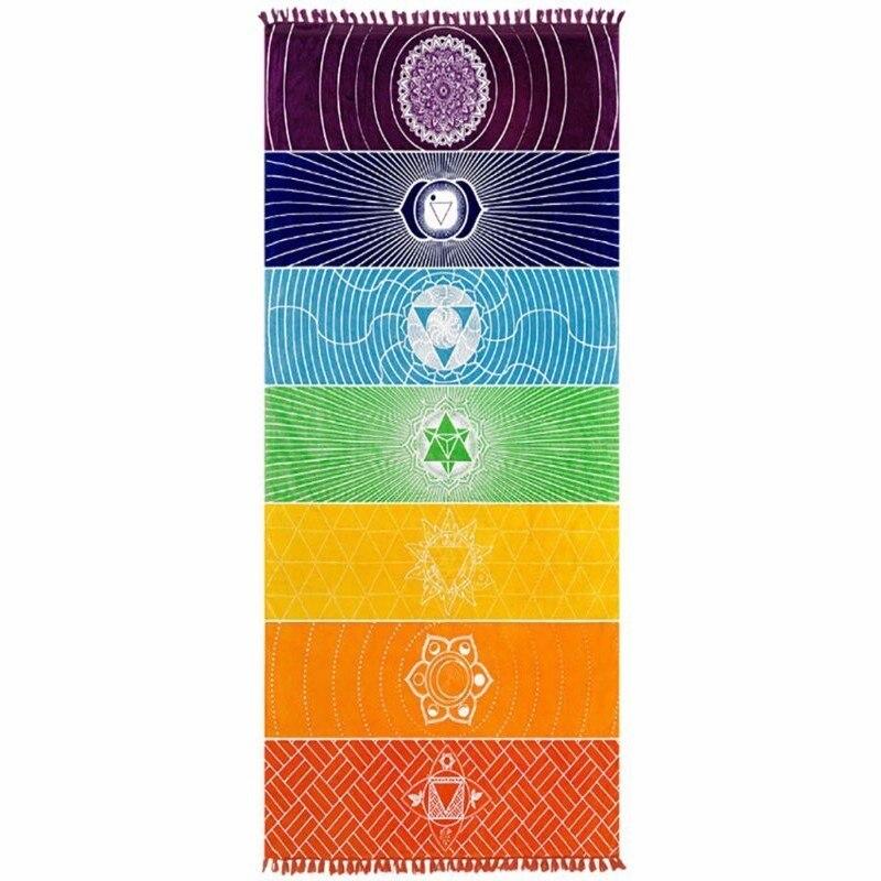 Migliore Qualità In Poliestere di Cotone Della Boemia India Mandala Coperta 7 Chakra Arcobaleno Strisce Arazzo Spiaggia Tiro di Yoga Asciugamano Tappetino Yoga