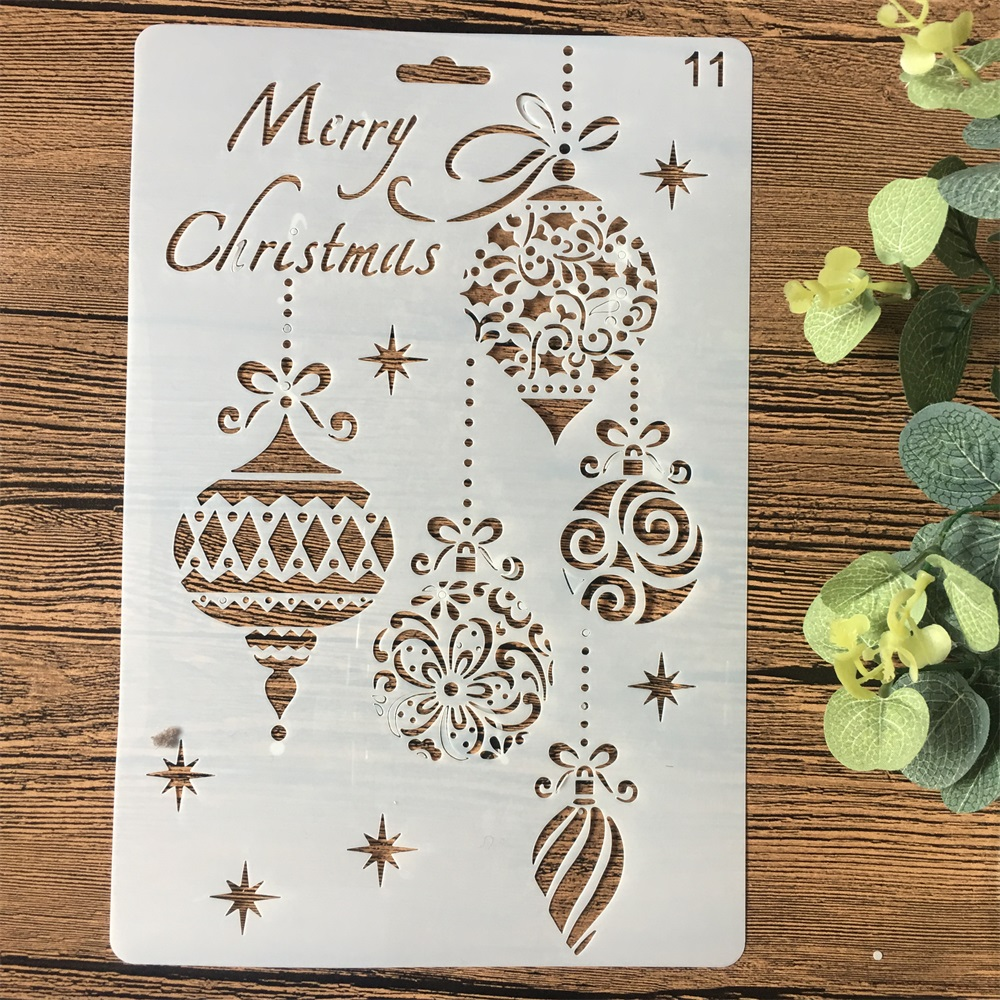 26cm Merry Christmas Balls DIY Craft Layering Stencils Wall Painting Scrapbooking Stamping Embossing Album Card Template