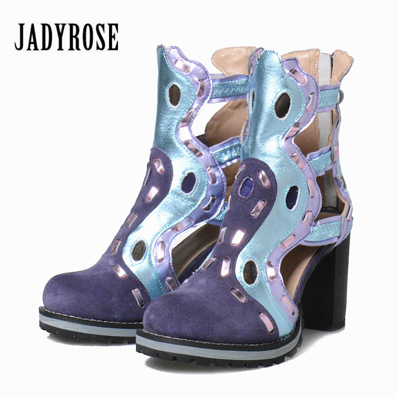 где купить Jady Rose Hollow Out Women Ankle Boots Chunky High Heel Shoes Woman Genuine Leather Summer Boot Female Platform Rubber Botas по лучшей цене