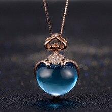 7CT Бирюзовый топаз, 18 K, розовое золото, Бриллиантовая подвеска, натуральное ожерелье, дизайн в виде сердца, подарок на день Святого Валентина, хорошее ювелирное изделие, подвеска с драгоценным камнем