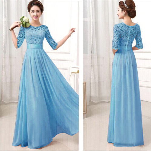 b4dc126e79a1 2015 Hot New Women Formal Lace Prom Ball Wedding Long Maxi Dress Bridesmaid  Gown L1