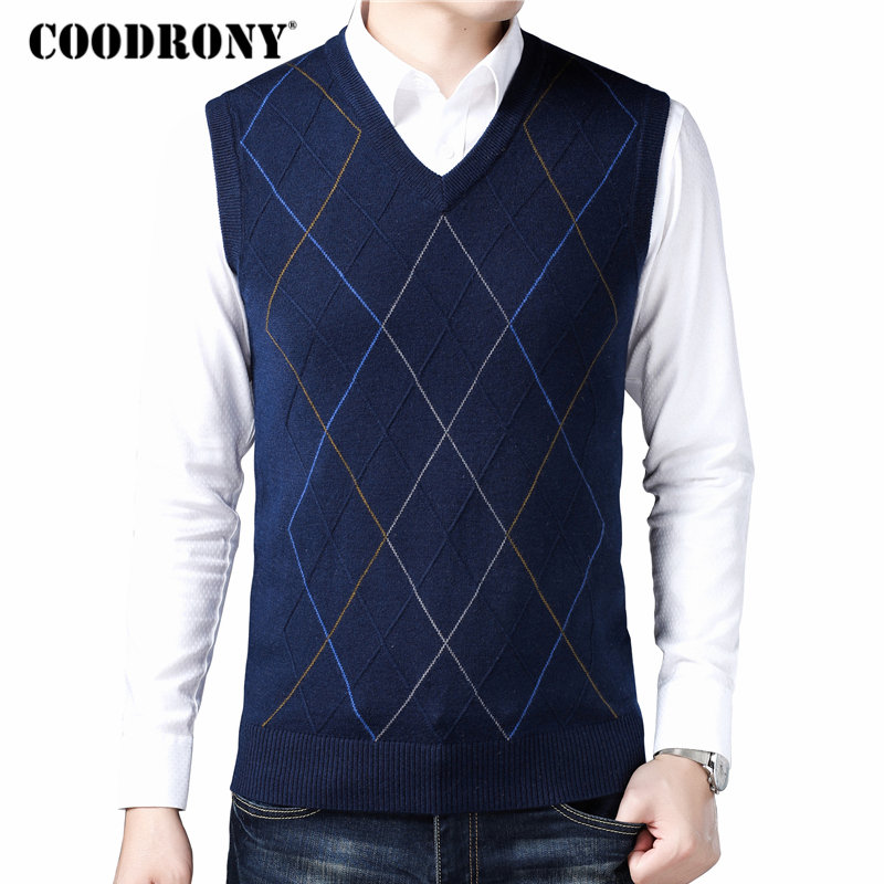 COODRONY Casual Argyle V-Neck Sleeveless Vest Men Clothes 2020 Autumn Winter New Arrival Knitted Cashmere Wool Sweater Vest 8174